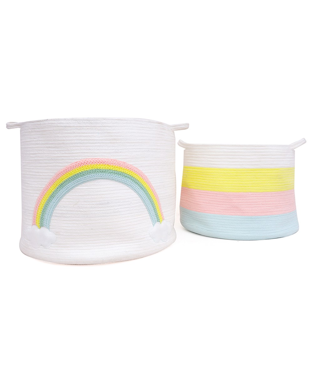 Arcus Cotton Rope Storage Basket - Combo Pack of 2